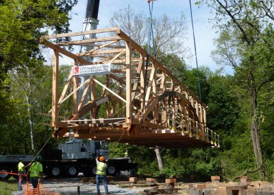 Lifting the assembled timbers into place