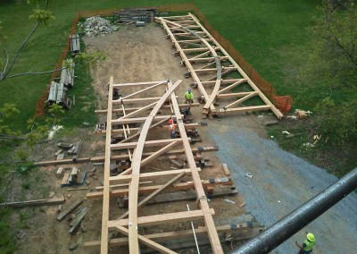Laying out the timbers for assembly