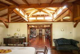 The square core of this octagon is the library. The exotic hardwood flooring is laid in a herringbone pattern.